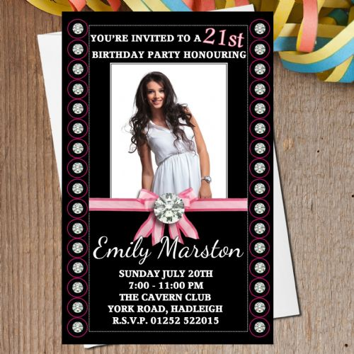 10 Personalised Diamond Bling Birthday Party PHOTO Invitations N166
